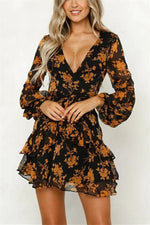 Women Digital Print V Collar Long Sleeved Waistband Dress