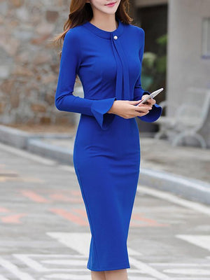Women Crew Neck  Plain Bodycon Dress