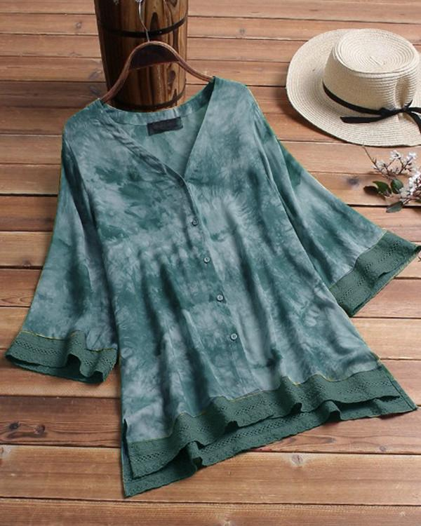 Women Casual Tops Floral Printed Loose Blouse