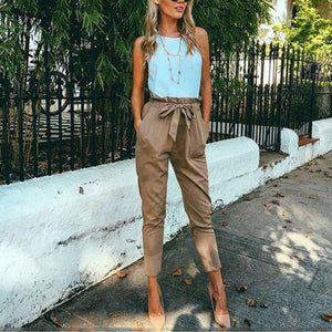 Women Casual Belt Cropped Trousers