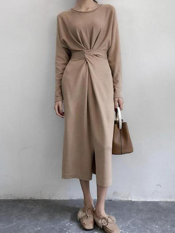 Women Casual Round Neck Long   Sleeve Pure Colour Dress