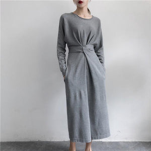 Casual Round Neck Long   Sleeve Pure Colour Dress