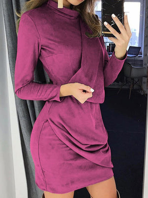 Women Casual Suede Fabric Long Sleeve Slim Pure Colour Dresses