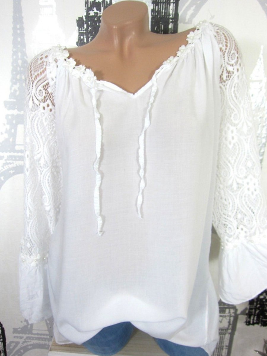 Women Decorative Lace Solid Color Long Sleeve Blouses
