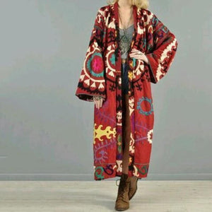 Women Elegant High Collar Jacquard Weave Oversize Long Sleeves Coat