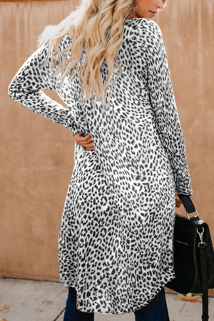 Women Collarless  Leopard Print Outerwear
