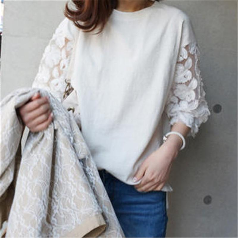Casual Loose Lace Stitching Sleeve Hoodies