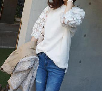 Women Casual Loose Lace Stitching Sleeve Hoodies