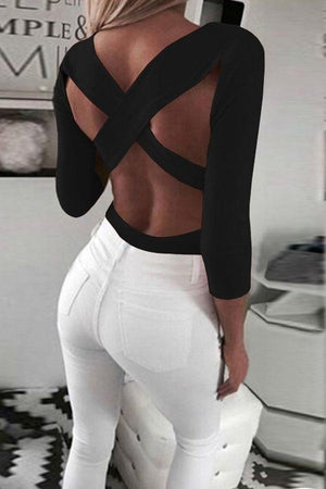 Women Deep V Neck  Backless  Plain T-Shirts