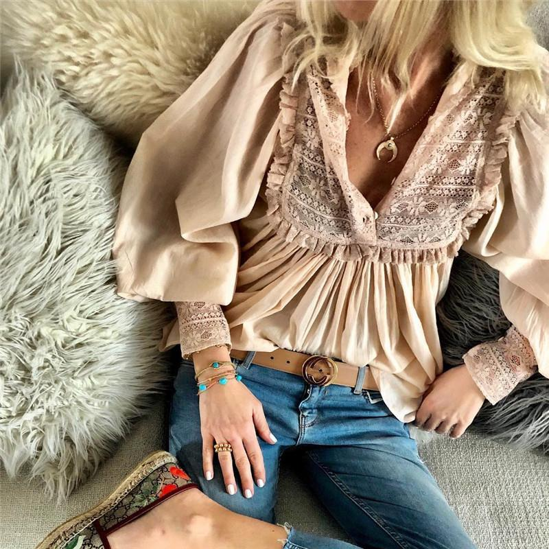 Women Casual Sexy Deep V   Neck Lace Splicing Shirt Blouse