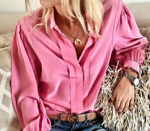 Women Casual Loose Pure   Color Pleated Long Sleeve Shirt