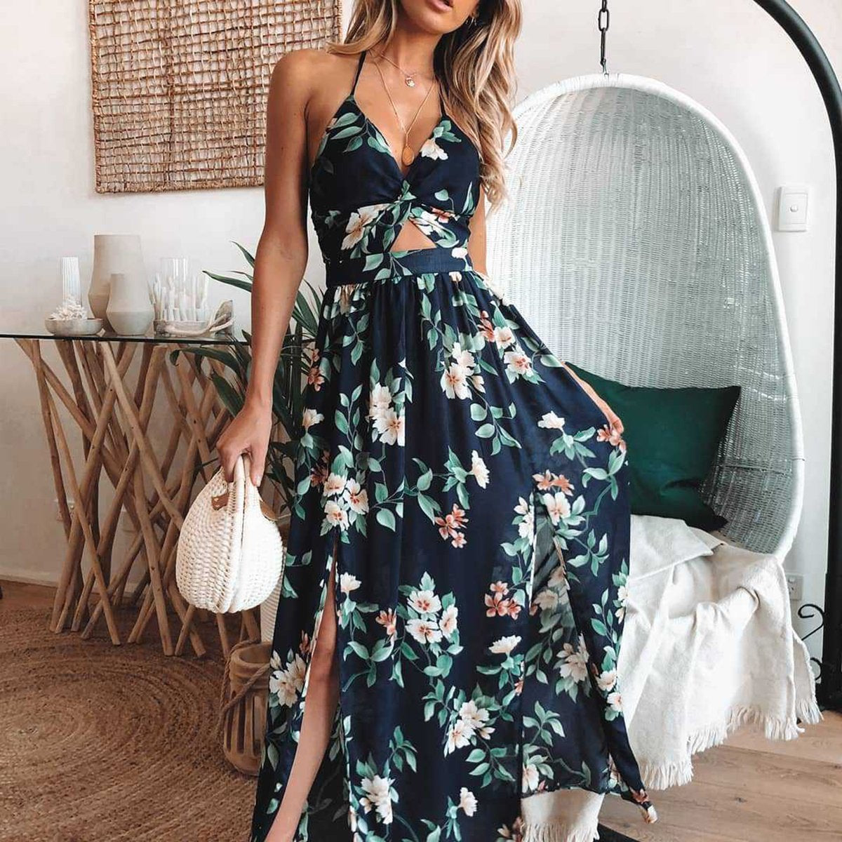 Women Elegant Floral Print Sleeveless Maxi Dress