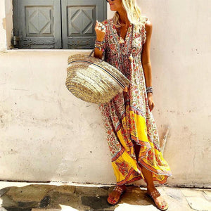 Women Bohemian V Neck Printed Colour Splicing Sleeveless Dress