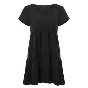 Women Casual Sexy V Neck   Short Sleeve Pure Color Mini Dresses