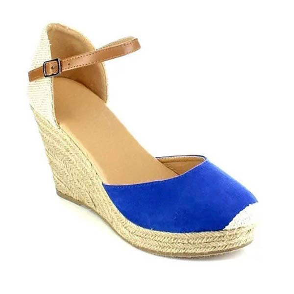 Plus Size Ankle Strap Espadrilles Wedges Sandals - veooy