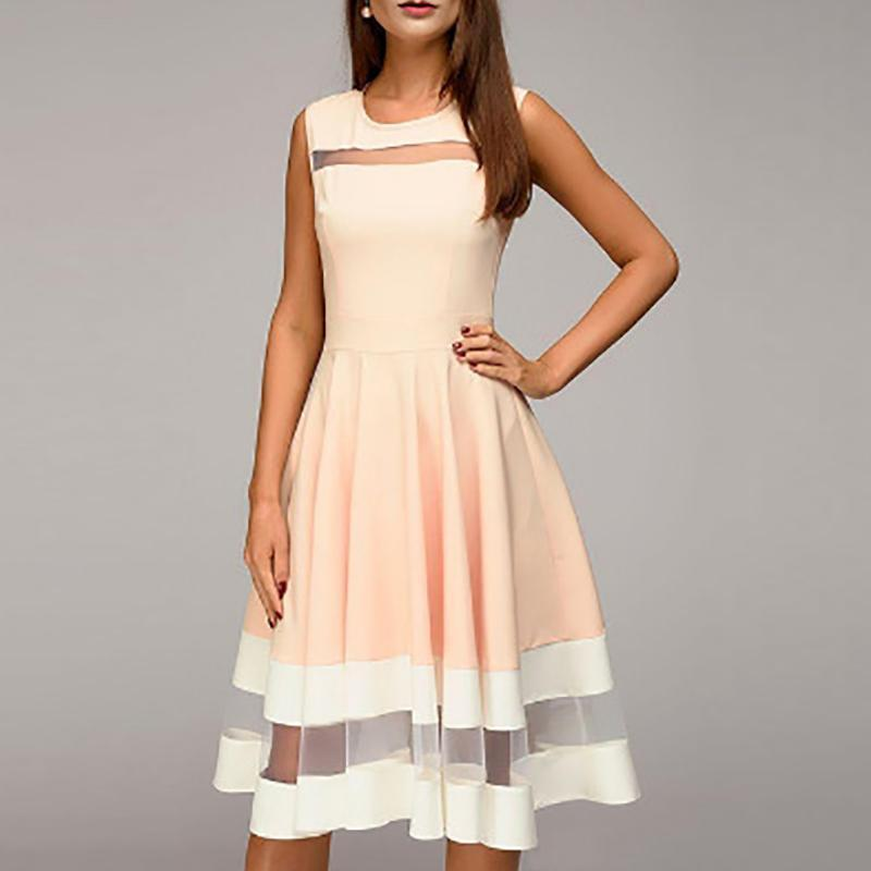 Casual Gauze Splicing Sleeveless Pure Colour Dresses