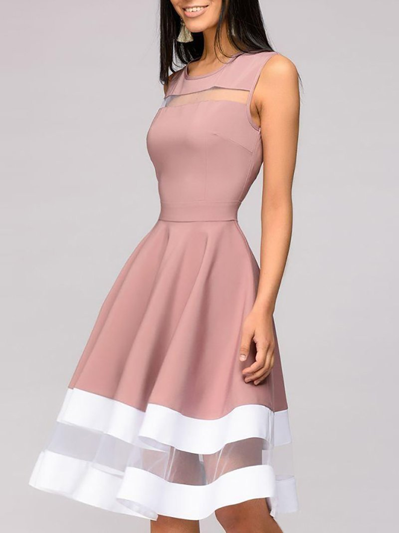 Women Casual Gauze Splicing Sleeveless Pure Colour Dresses