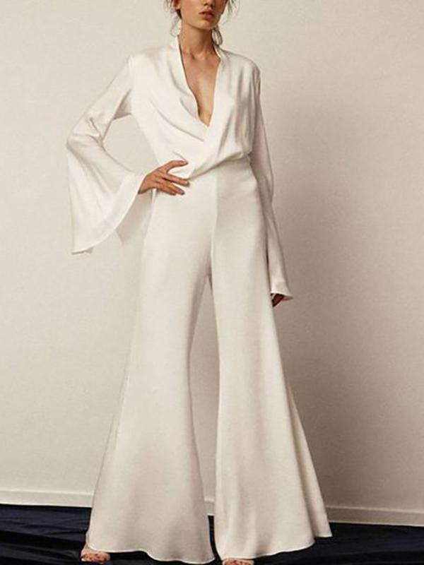 Women Casual Sexy V-Neck Pure Color Jumpsuits