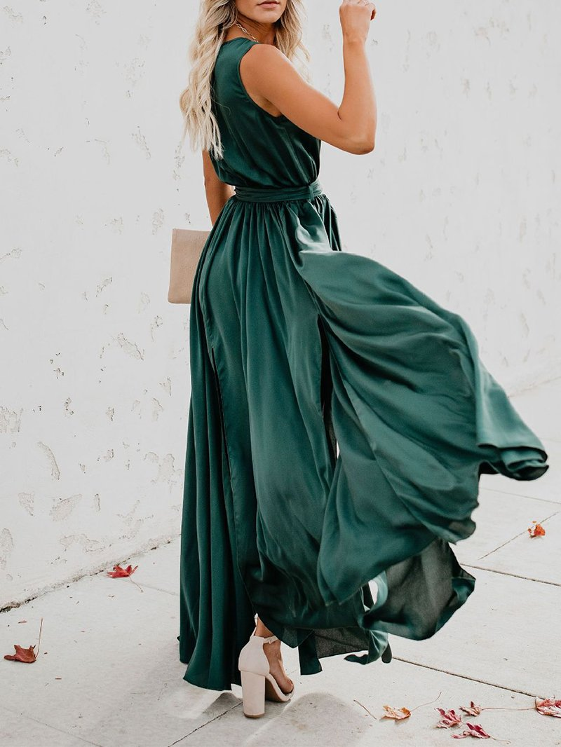 Women ChicLV  Pure Colour Belted Sleeveless Maxi Dresses