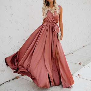 ChicLV  Pure Colour Belted Sleeveless Maxi Dresses