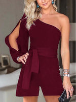 Women Casual Sexy Off The   Shoulder Frenulum Slim Pure Color Shorts Jumpsuit