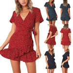 Women Casual Sexy Deep V   Neck Frenulum Slim Wave Point Mini Dresses