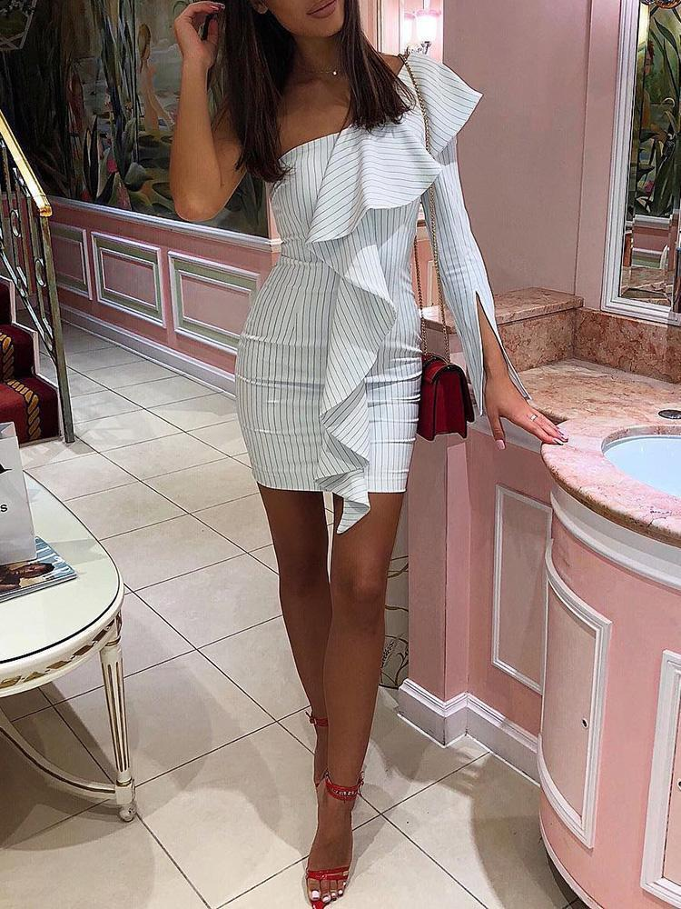 Women Casual Sexy Off The   Shoulder Slim Falbala  Strips Mini   Dresses