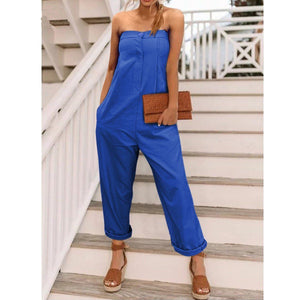 Casual Off Shoulder Plain Slim Wide Leg Jumpsuit