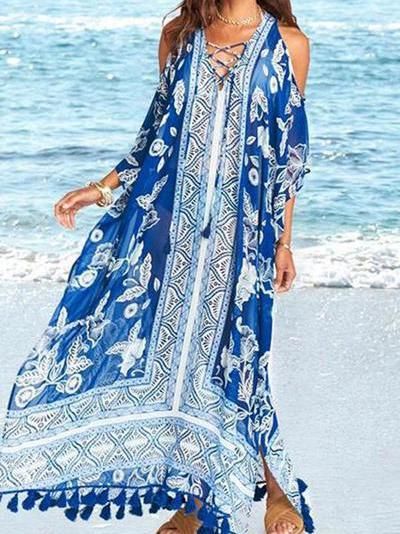 Women Casual Loose Off-Shoulder Tassel Printed Colour Beach Dresses