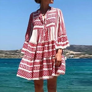 Women Bohemian Printed Colour Bell Sleeve Pleated Casual Mini Dress
