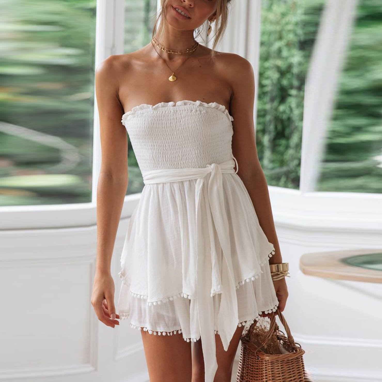 Cotton And Linen Ruffled Chest Strap Dress (Video)