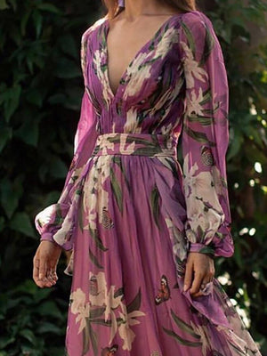 Women Bohemian Printed Colour V Neck Long Sleeve Pleated Dress