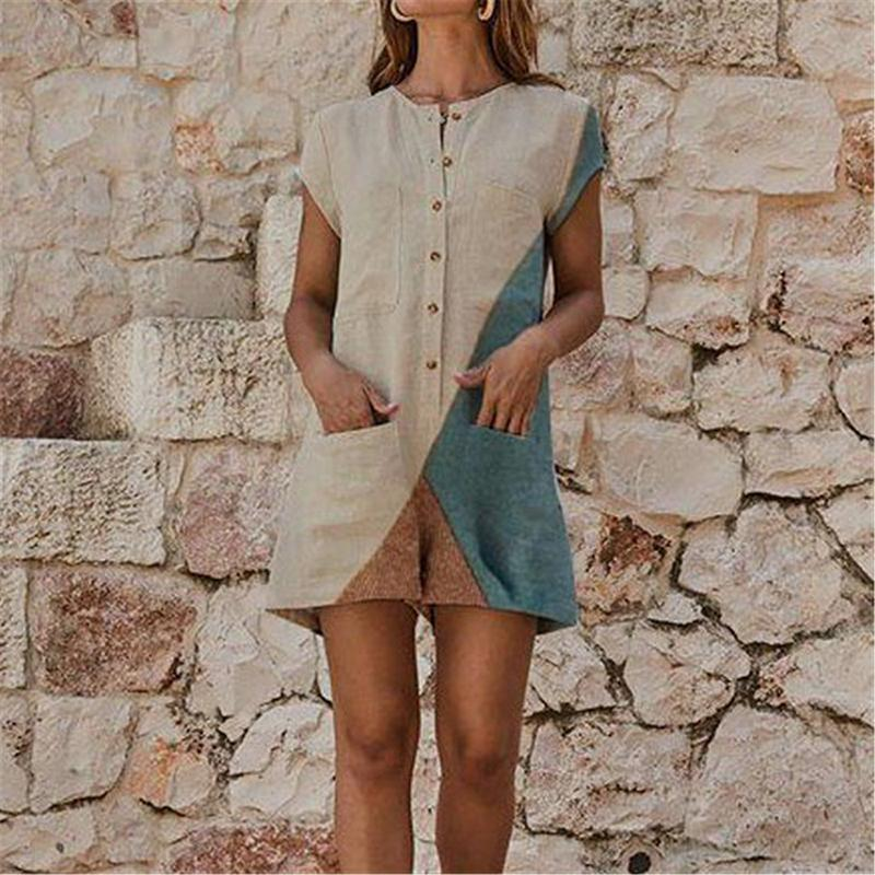 Women Casual Splicing Round Neck Short Sleeve Jumpsuits