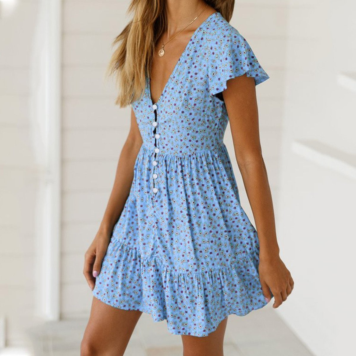 Women 2019 Sexy Ruffled V-Neck Printed Dress