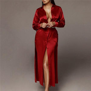 Women Casual Loose Sexy Silk And Satin Long-Sleeved Fork Maxi Dress