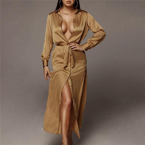 Casual Loose Sexy Silk And Satin Long-Sleeved Fork Maxi Dress