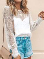 Women Commuting Round Neck Lace See-Through Long Sleeve Pleated T-Shirt