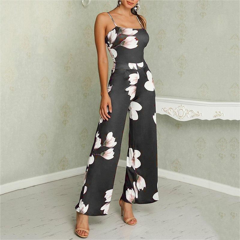Commuting Sleeveless Bare Back Off-Shoulder Printed Colour Jumpsuit