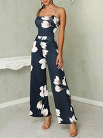 Women Commuting Sleeveless Bare Back Off-Shoulder Printed Colour Jumpsuit