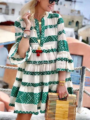 Women Bohemian Printed Colour Splicing Pleated Bracelet Sleeve Vacation Mini Dress