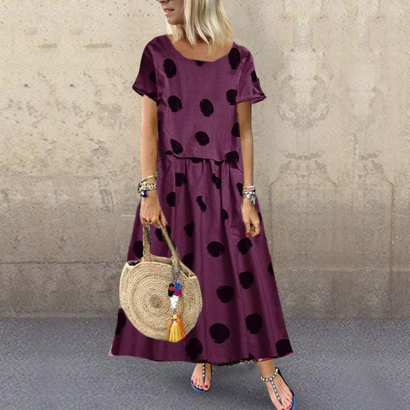 Women A Casual Dot Print Short-Sleeved Dress