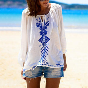 Casual Printed Colour Sun-Protective Belted Long Sleeve Beach Pullover
