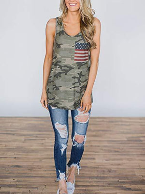 Women Casual Off-Shoulder Bare Back Sleeveless Patch Pocket Splicing Tank Top