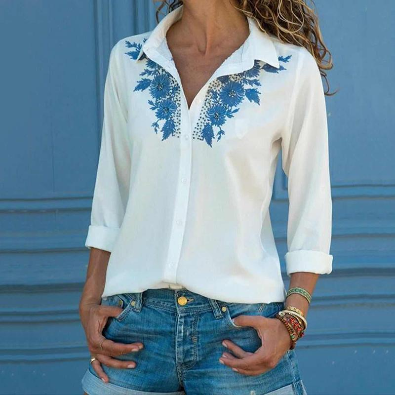 Commuting Printed Colour Turndown Collar Long Sleeve Blouse