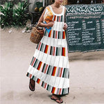 Commuting Stripe Printed Colour Round Neck Dress
