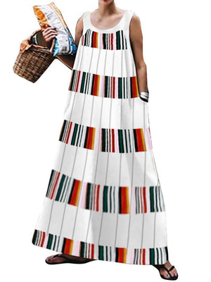 Women Commuting Stripe Printed Colour Round Neck Dress