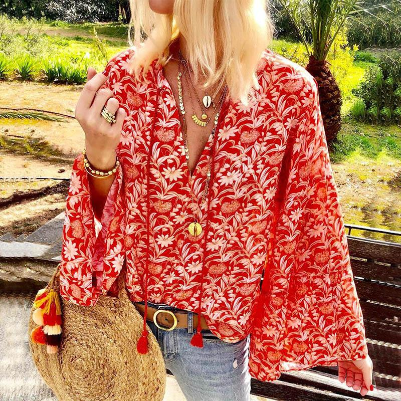 Women Casual Chiffon V Neck Printed Colour Bell Sleeve Sun-Protective Blouse
