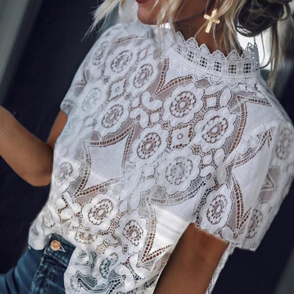 Women Band Collar  Decorative Lace T-Shirt