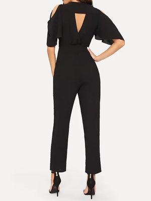 Women Commuting V Neck Belted Ruffled Pure Colour Bare Back Jumpsuit