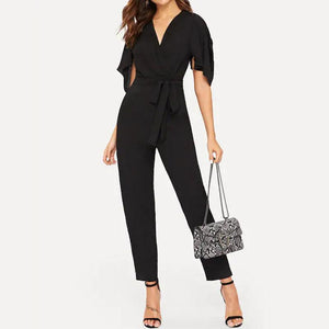 Commuting V Neck Belted Ruffled Pure Colour Bare Back Jumpsuit